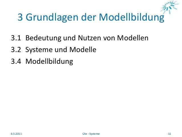 3 Grundlagen der Modellbildung 3.1 Bedeutung und Nutzen von Modellen 3.2 Systeme und Modelle 3.4 Modellbildung 6.5.2011 11...