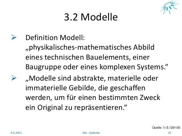 """3.2 Modelle  Definition Modell: """"physikalisches-mathematisches Abbild eines technischen Bauelements, einer Baugruppe oder..."""