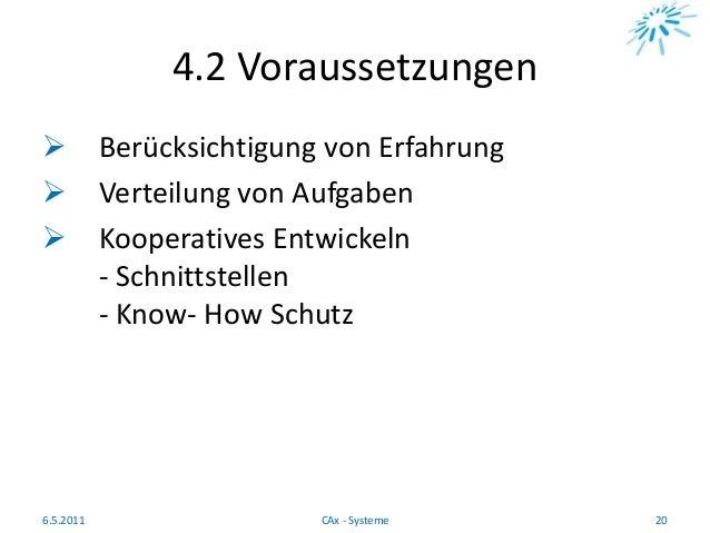 4.2 Voraussetzungen  Berücksichtigung von Erfahrung  Verteilung von Aufgaben  Kooperatives Entwickeln - Schnittstellen ...