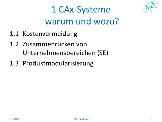 1 CAx-Systeme warum und wozu? 1.1 Kostenvermeidung 1.2 Zusammenrücken von Unternehmensbereichen (SE) 1.3 Produktmodularisi...