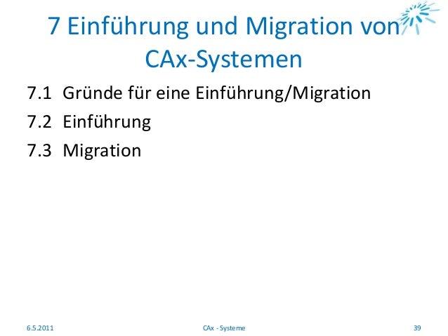 7 Einführung und Migration von CAx-Systemen 7.1 Gründe für eine Einführung/Migration 7.2 Einführung 7.3 Migration 6.5.2011...