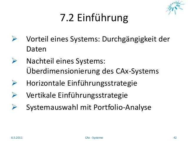 7.2 Einführung  Vorteil eines Systems: Durchgängigkeit der Daten  Nachteil eines Systems: Überdimensionierung des CAx-Sy...