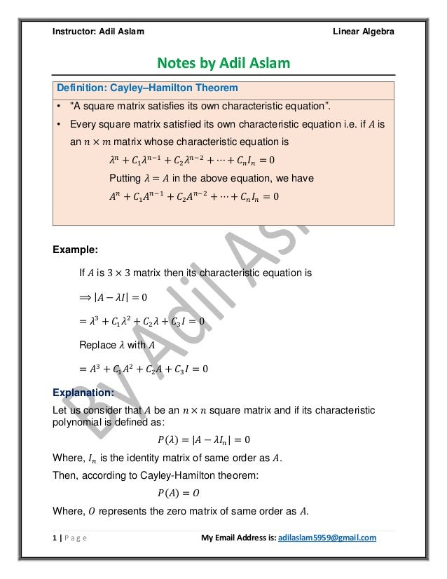 Linear algebra - theorems and applications