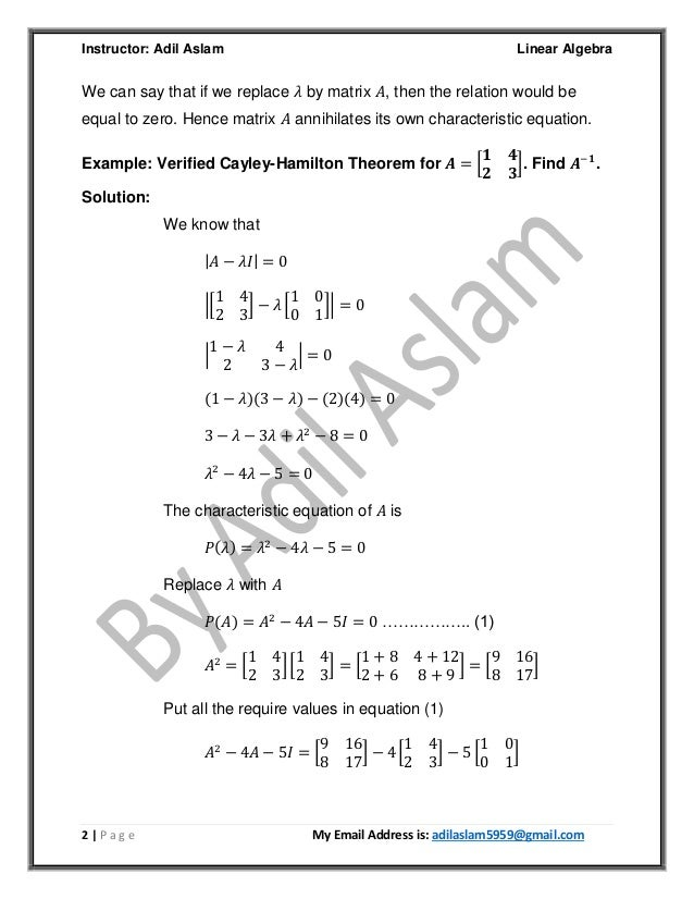Cayley–Hamilton Theorem with Examples