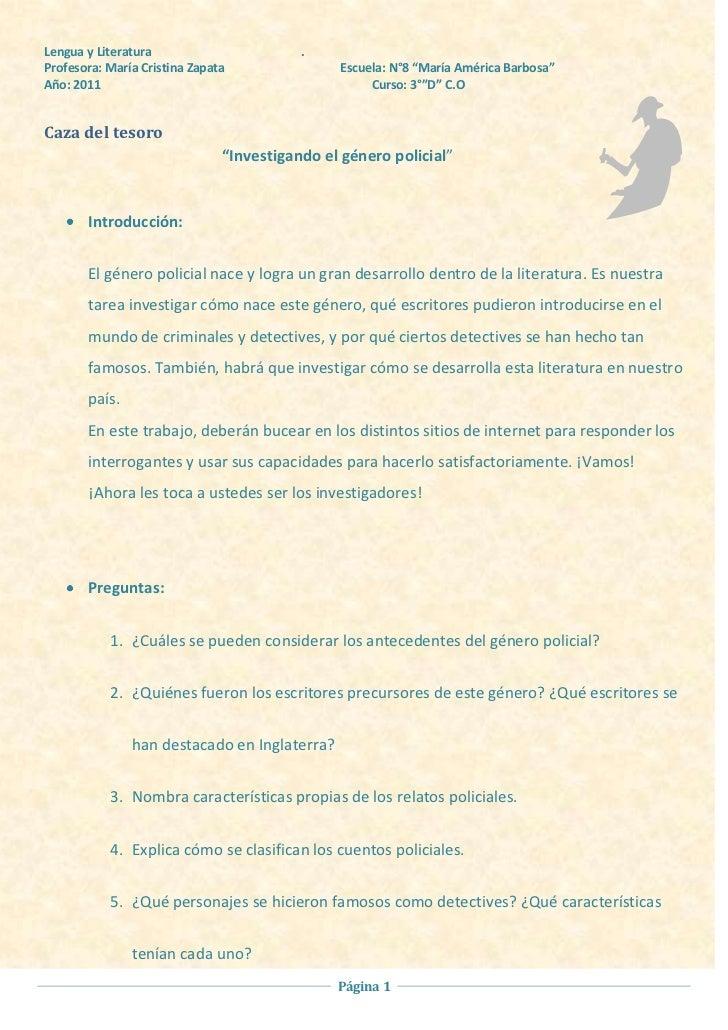 "Lengua y Literatura                       .Profesora: María Cristina Zapata               Escuela: N°8 ""María América Barb..."