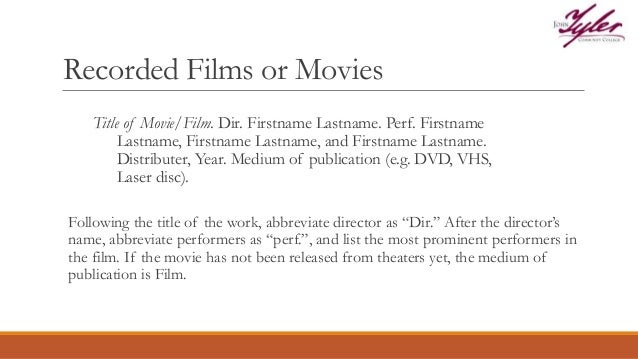 Mla format for films