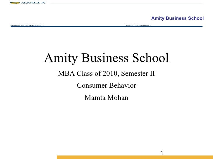 Amity Business School MBA Class of 2010, Semester II Consumer Behavior Mamta Mohan