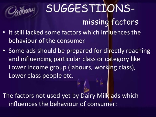 factor influencing consumer behaviour cadbury nestle Consumer analysis on chocolate consumption marketing essay  (in special context of nestle, cadbury & mars  value is another very important factor influencing.