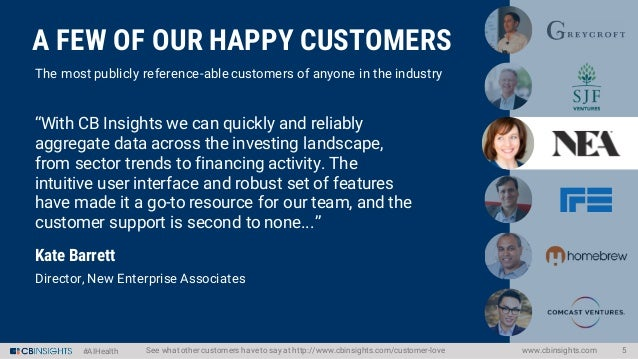 #AIHealth www.cbinsights.com 5See what other customers haveto say at http://www.cbinsights.com/customer-love The most publ...
