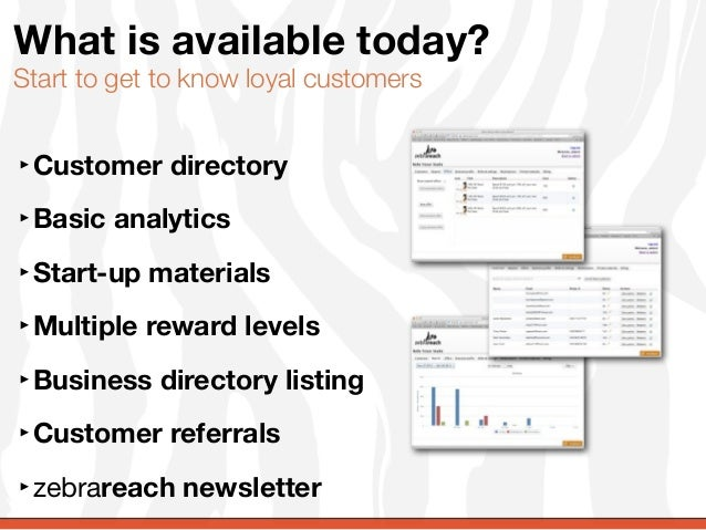 What is available today?Start to get to know loyal customers‣Customer directory‣Basic analytics‣Start-up materials‣Multipl...