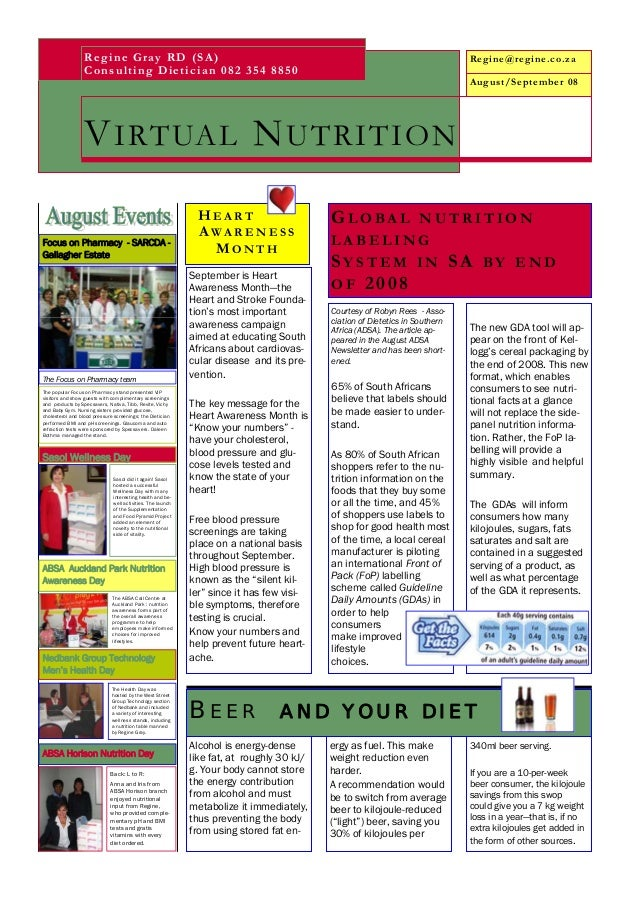 12 August September 2008 Nutrition Newsletter
