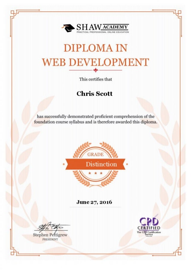 Certificate Diploma In Web Development Jun16