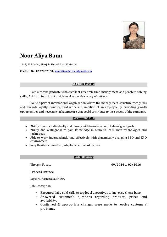 aliya company resume