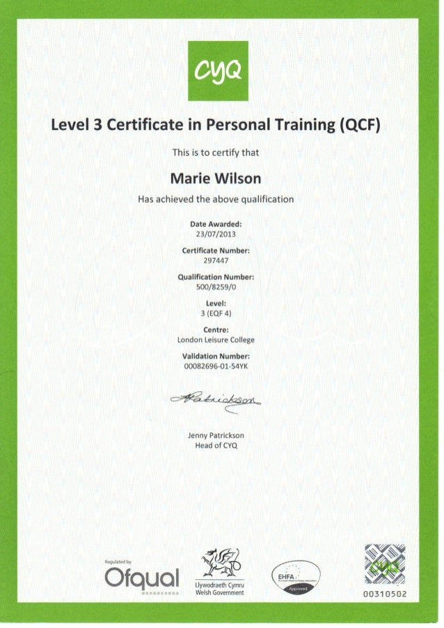 Personal Training Certificatepdf