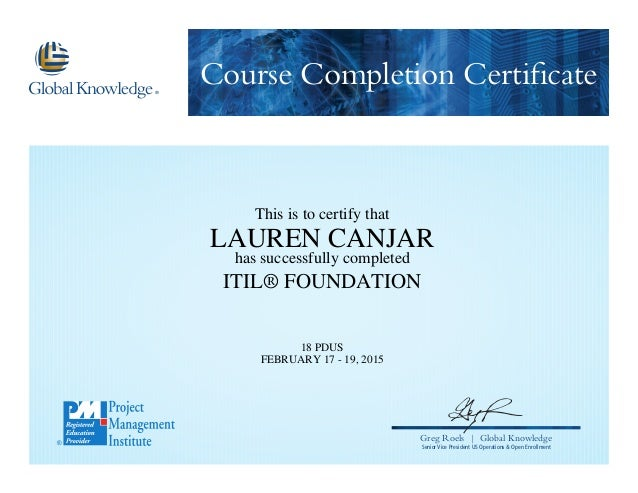 Itil Foundation Certification V3 2015