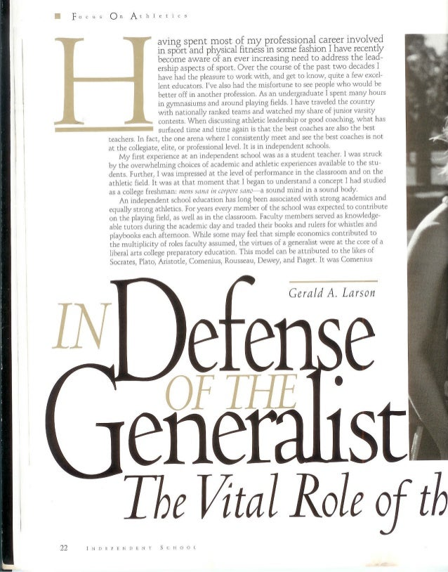 Dr JLarson NAIS 1996 - In Defense of Teacher-Coach