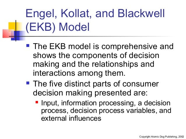 ekb models Presentation on engel kollat blackwell model sub component a key feature of the ekb model is the differences between high and low involvement as.