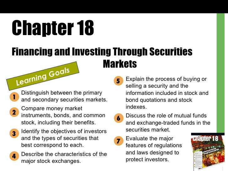 Chapter 18 Financing and Investing Through Securities  Markets Learning Goals Distinguish between the primary and secondar...