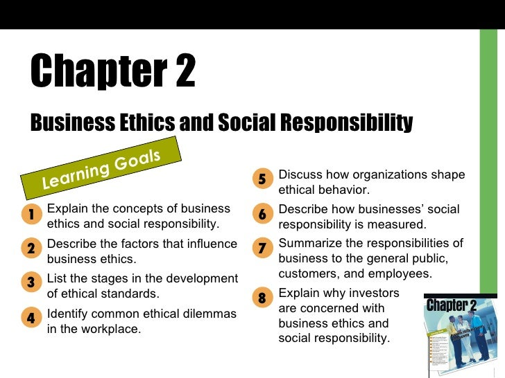 Chapter 2 Business Ethics and Social Responsibility Learning Goals Explain the concepts of business ethics and social resp...