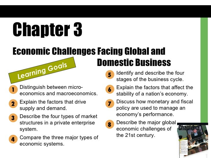 Chapter 3 Economic Challenges Facing Global and  Domestic Business Learning Goals Distinguish between micro-economics and ...