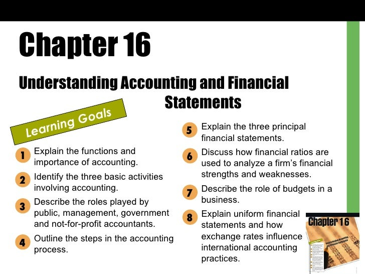 Chapter 16 Understanding Accounting and Financial  Statements Learning Goals Explain the functions and importance of accou...