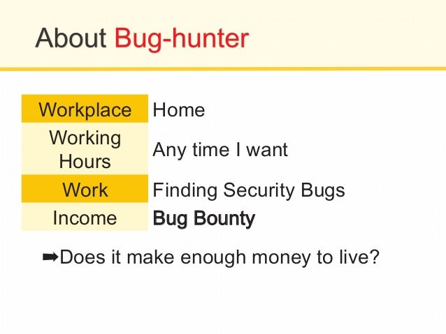Workplace Home Working Hours Any time I want Work Finding Security Bugs Income BBuugg BBoouunnttyy ➡Does it make enough mo...