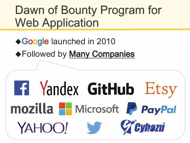 !GGooooggllee VVulnerability RReward PProgram !1 bug = $100~20,000 $$113300,,880033..77 TToottaall BBoouunnttiieess NNuu...