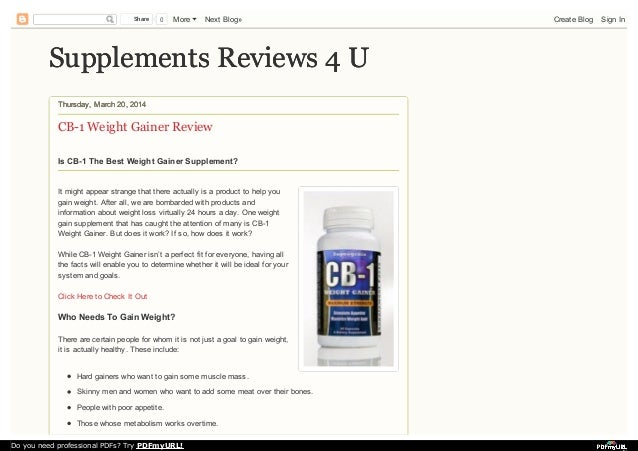Supplements Reviews 4 USupplements Reviews 4 U Thursday, March 20, 2014Thursday, March 20, 2014 CB-1 Weight Gainer Review ...