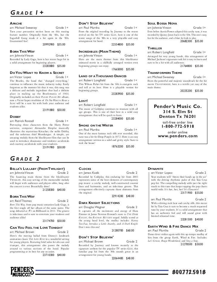 Pender's Picks the Pops 2012 | Concert Band Sheet Music (pdf)
