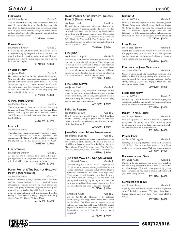 Pender's Picks the Pops 2012 | Concert Band Sheet Music (pdf)