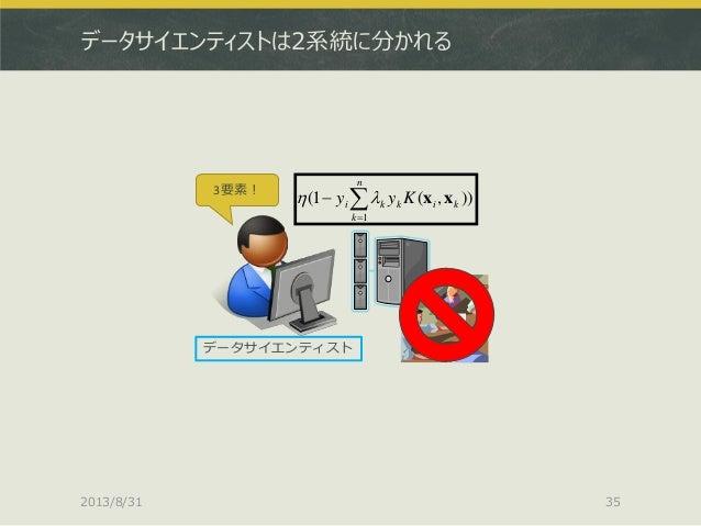 データサイエンティストは2系統に分かれる 2013/8/31 35 3要素! データサイエンティスト )),(1( 1   n k kikki Kyy xx