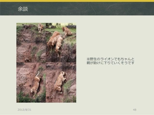 余談 ※野生のライオンでもちゃんと 親が助けに下りていくそうです 2013/8/31 48