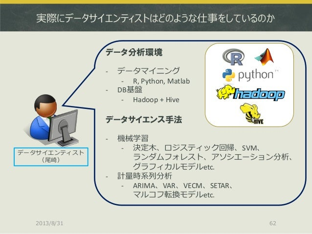 実際にデータサイエンティストはどのような仕事をしているのか データサイエンティスト (尾崎) データ分析環境 - データマイニング - R, Python, Matlab - DB基盤 - Hadoop + Hive データサイエンス手法 - ...