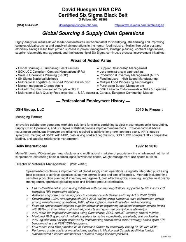 Resume   DHuesgen   Global Sourcing U0026 Supply Chain Operations. David  Huesgen MBA CPA Certified Six Sigma Black Belt O Fallon, MO 63368 (314 ...