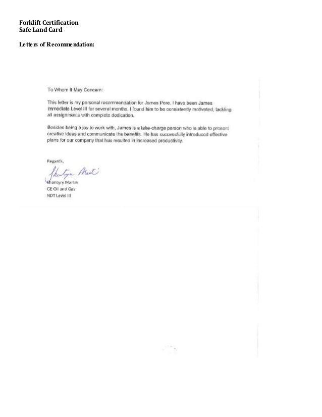Forklift Certification Safe Land Card Letters of Recommendation: