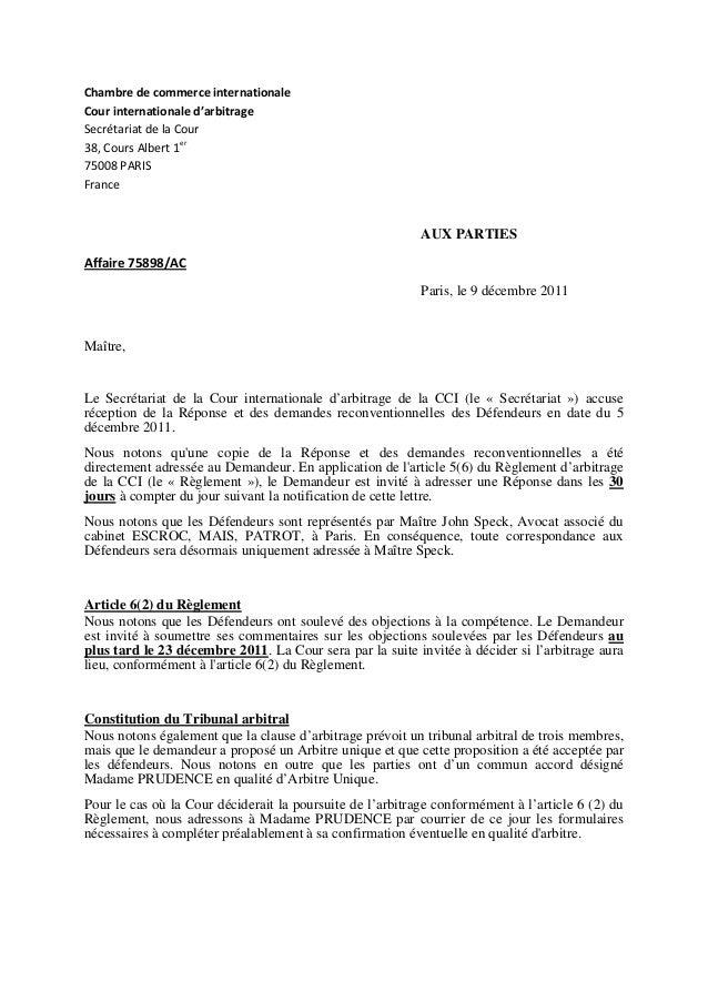 Ciam2012 for Chambre de commerce internationale arbitrage