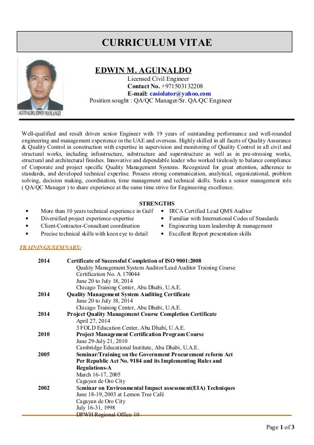 Edwin Cv For QA QC Manager. CURRICULUM VITAE EDWIN M. AGUINALDO Licensed  Civil Engineer Contact No.