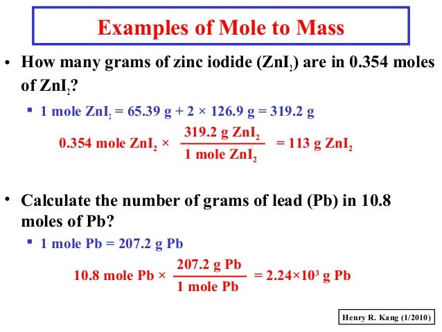 mole examples Mole fraction is another way of expressing the concentration of a solution or mixture it is equal to the moles of one component divided by the total moles in the solution or mixture a = the component that is being identified for mole fraction mole fraction is used in a variety of calculations, but .