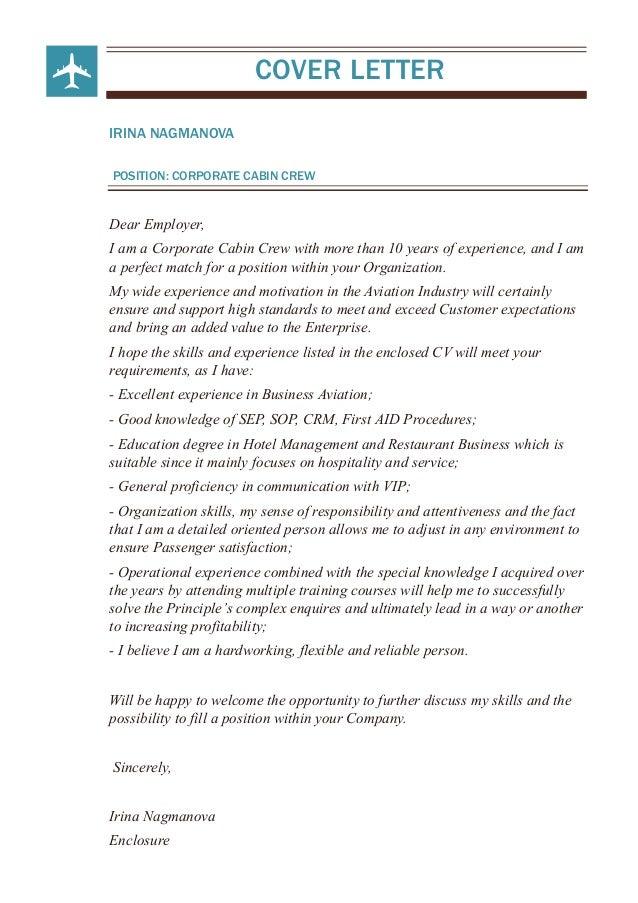 Application Letter Sample Cabin Crew Cabin Crew Cover