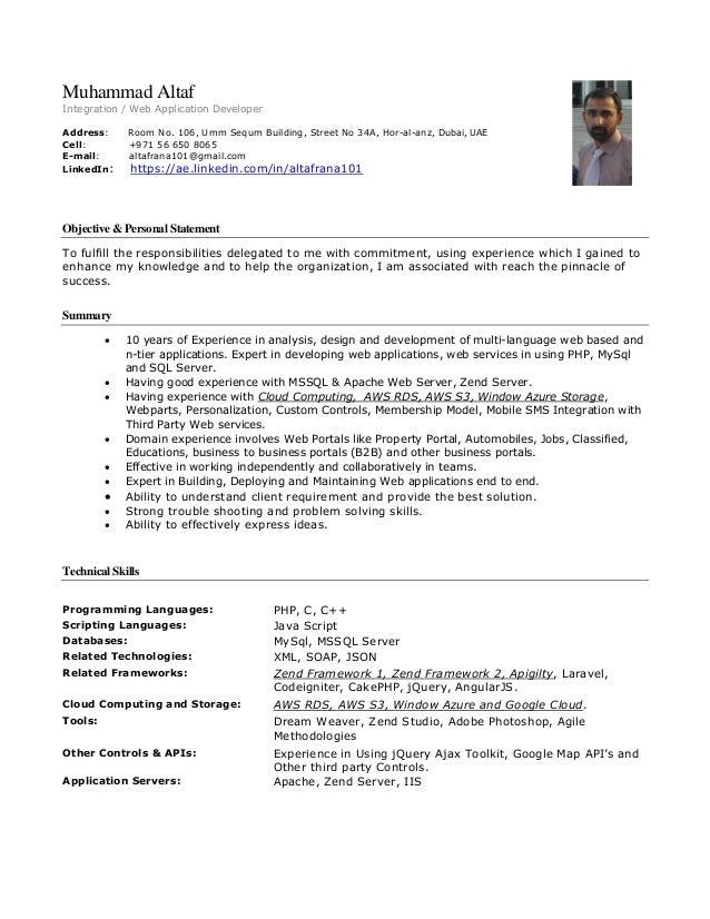 Muhammad Altaf Integration / Web Application Developer Address: Room No. 106, Umm Sequm Building, Street No 34A, Hor-al-an...