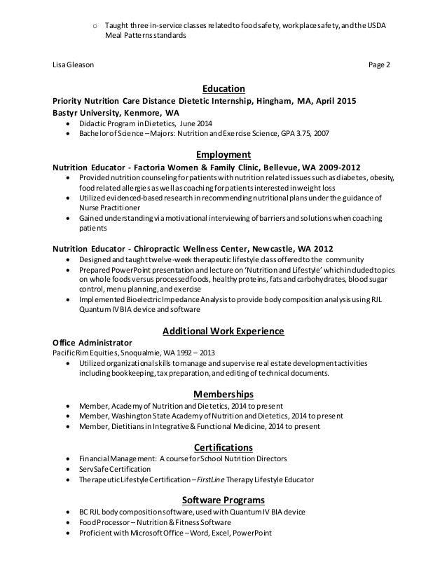 Lisa Gleason Rdn Resume