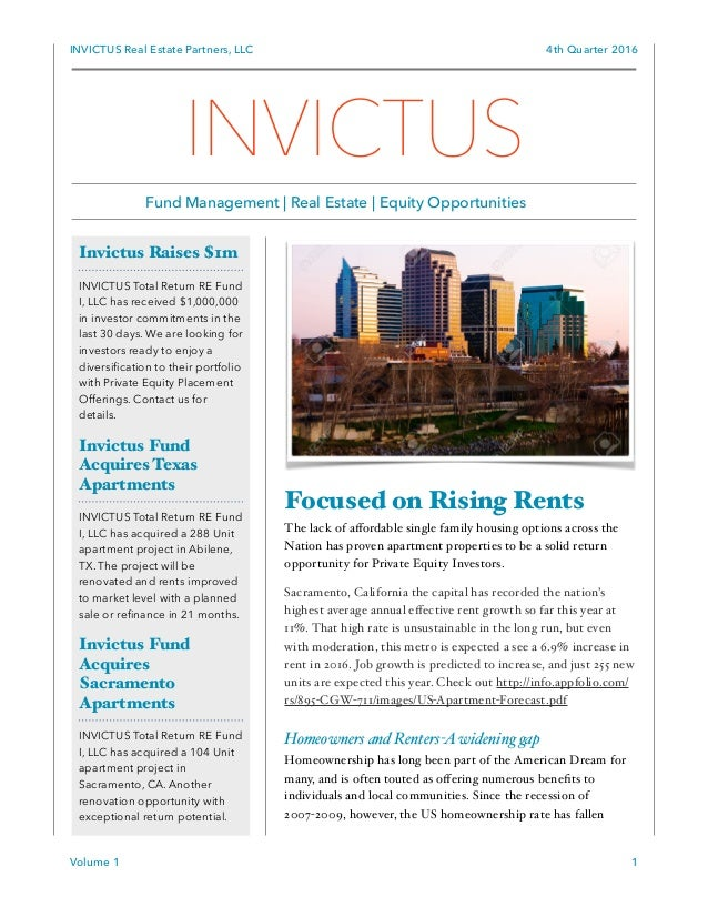 Invictus Newsletter 4th quarter 2016