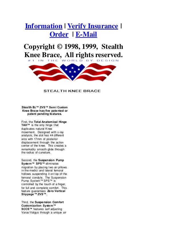Stealth knee brace brochure