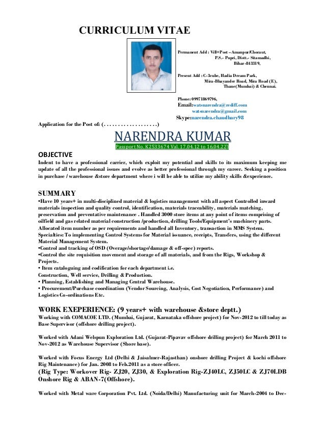 CURRICULUM VITAE Permanent Add : Vill+Post U2013Amanpur/Choraut, ...  Oil And Gas Resume