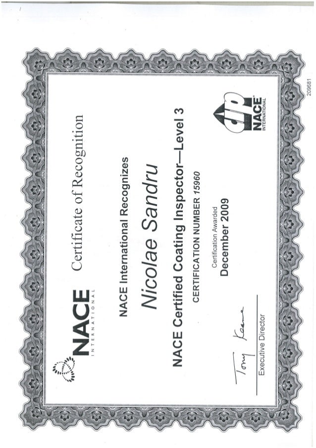 nace level inspector coating certificate certified slideshare