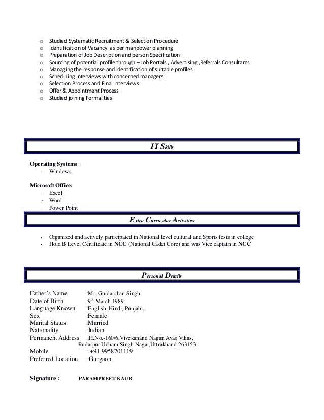 Resume parampreet for Tata motors recruitment process