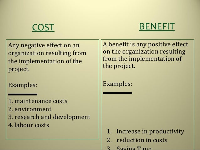 Cost Benefit Analysis. Any Negative Effect On An Organization Resulting  From The Implementation Of The Project. Examples: ...