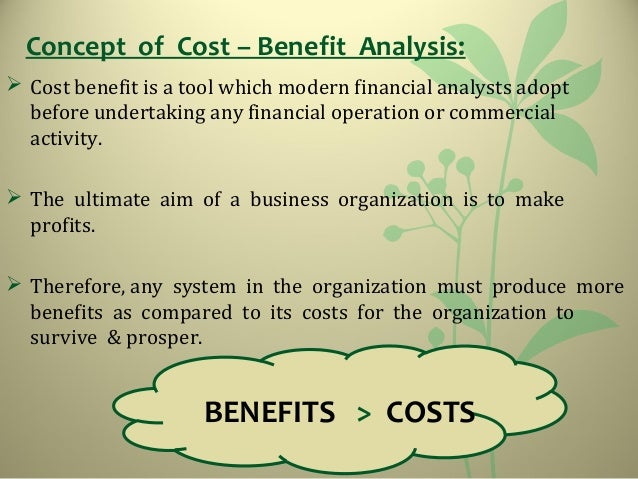 ... COST BENEFIT; 2.