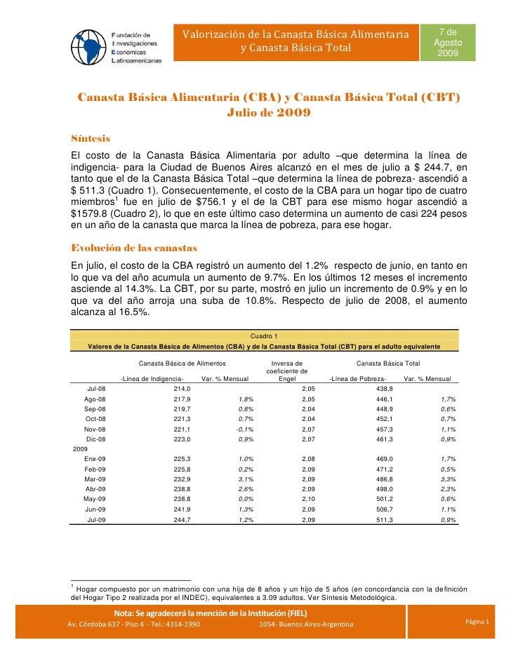 Valorización de la Canasta Básica Alimentaria                                      7 de                                   ...