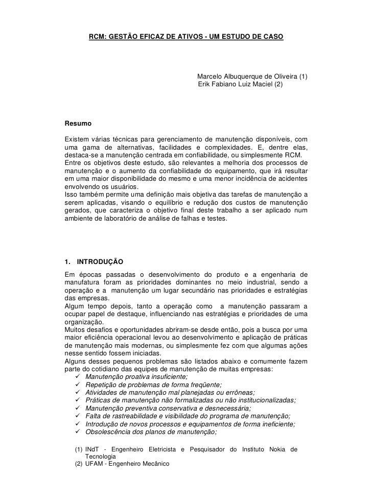 RCM: GESTÃO EFICAZ DE ATIVOS - UM ESTUDO DE CASO                                               Marcelo Albuquerque de Oliv...